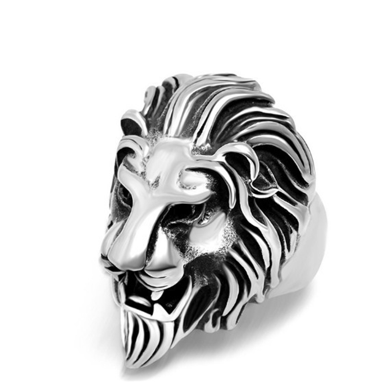 Fashion Jewely Low MOQ Lion Head Ring Men Stainless Steel Hip Hop Ring Wholesale