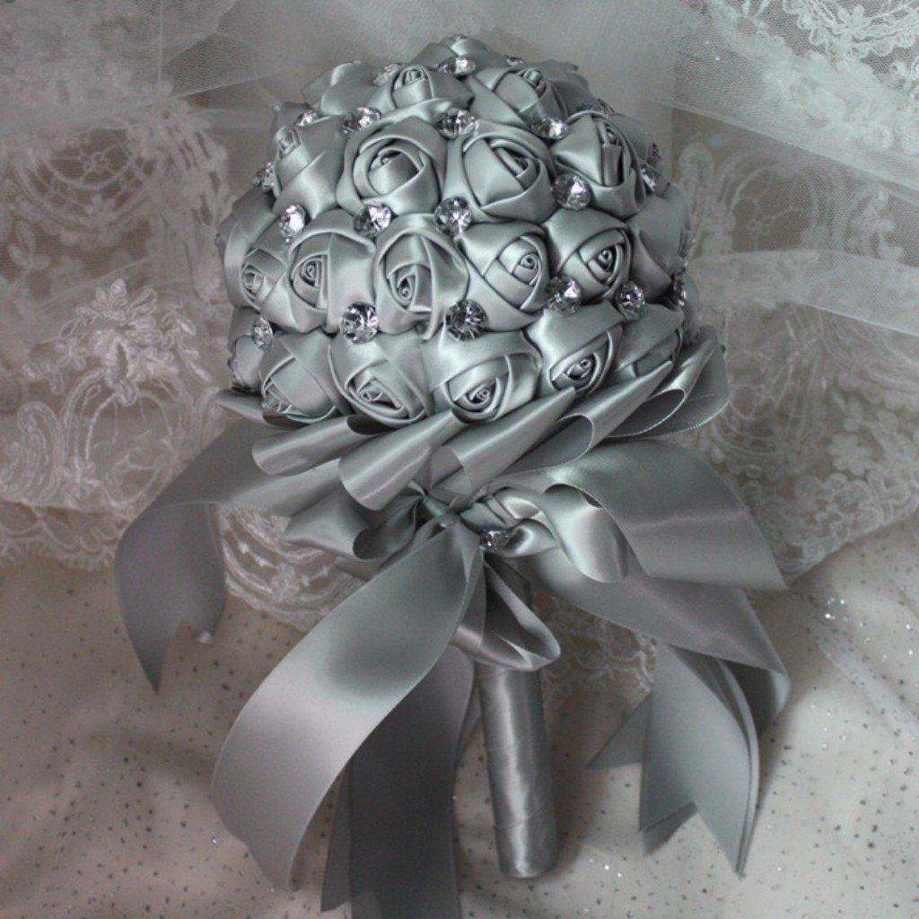 Cheap how to make handmade fabric flower bouquets find how to make get quotations checkmineout silver handmade diamante clear crystal rhinestone satin roses wedding decorative flowers flower girls bridal bridesmaid izmirmasajfo