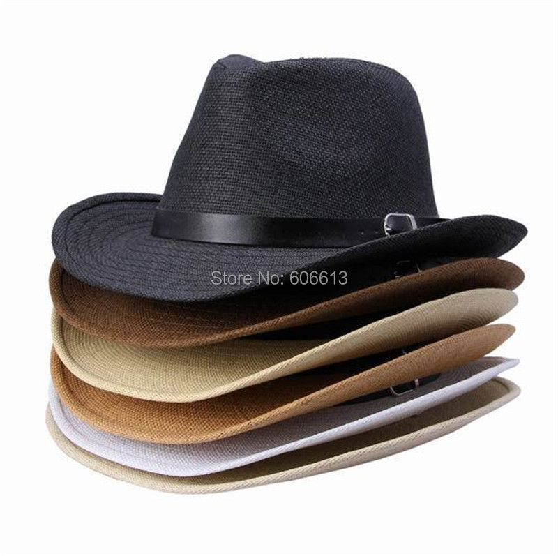 Get Quotations · 2015 New Summer Multi-color Straw Hat Leather Band  Designer Woman Man Cowboy Panama Hat cffe8908c9f3