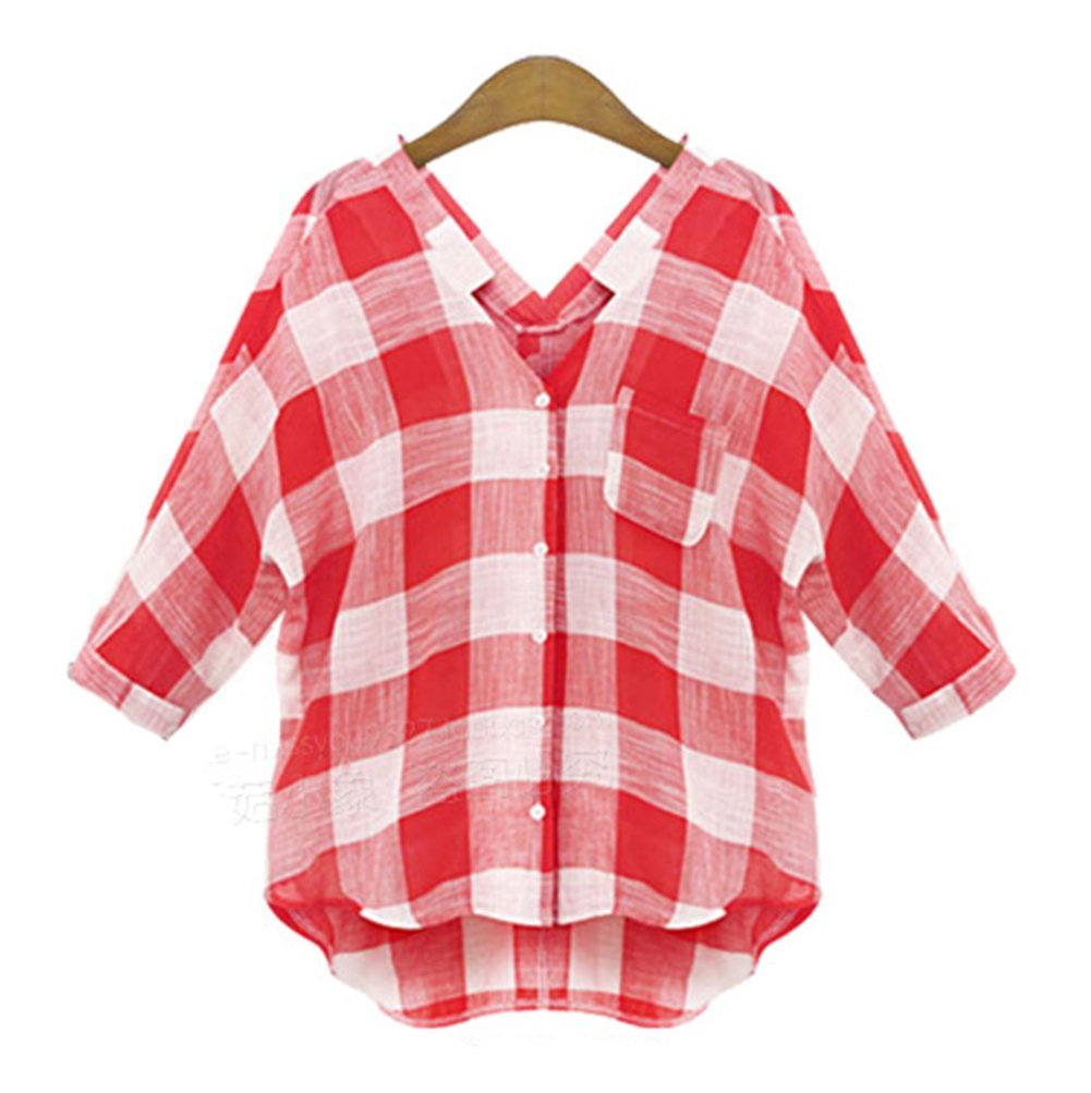 Fortuning's JDS® Classic fashion summer 3/4 Sleeve red plaid shirt for ladies