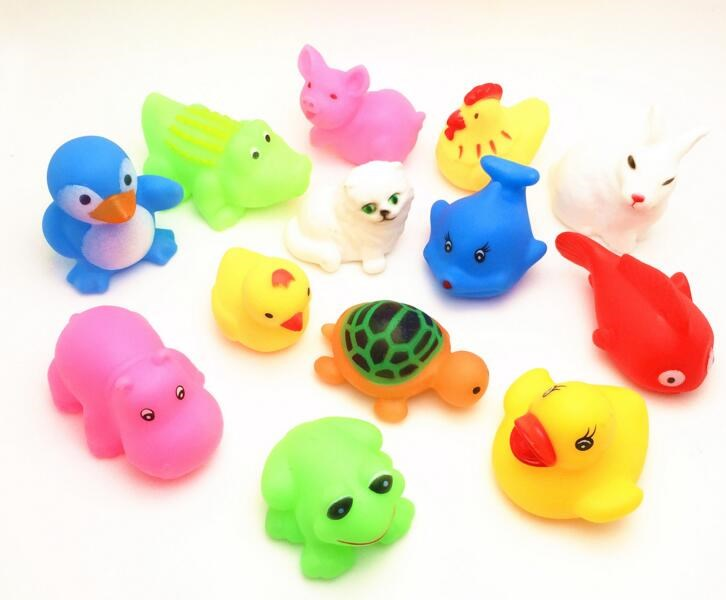 13 Pcs/lots Cute Soft Rubber Float Sqeeze Sound Baby Play Animals Toys