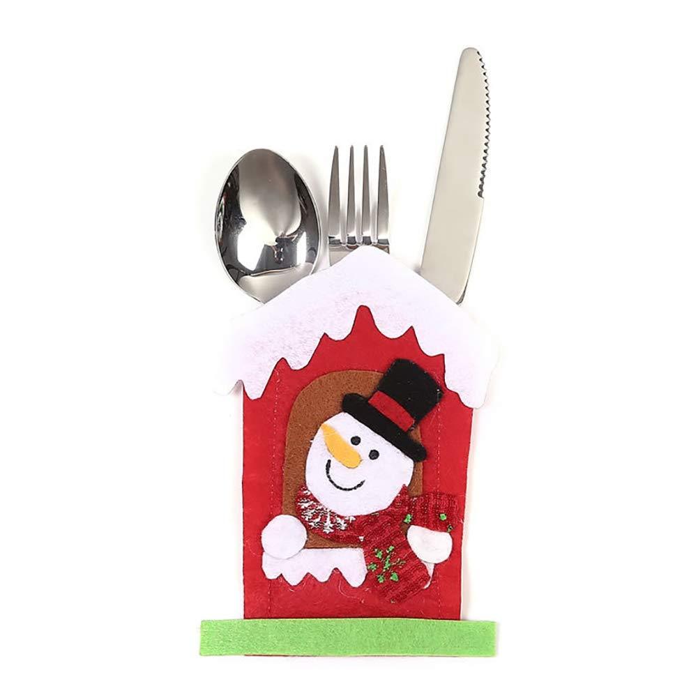 WillowswayW Christmas Snowman Elk Santa Claus Cutlery Pouch Cloth Knife Fork Bag Xmas Dinner Decor - Snowman#
