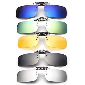f60a513858 Get Quotations · (Random Color) Polarized Clip On Sunglasses Sun Glasses  Driving Night Vision Lens   Polarized