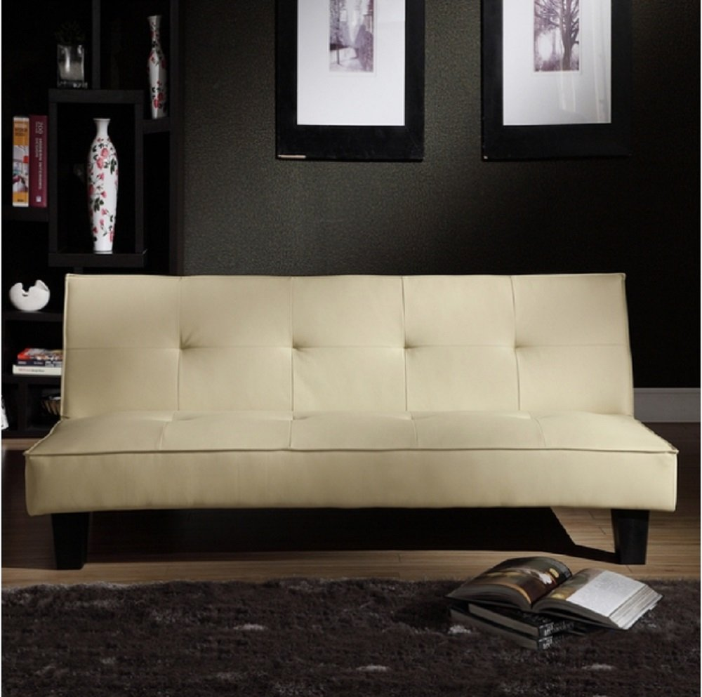 Tribecca Home Bento Beige Faux Leather Modern Mini Futon Sofa Bed, This Modern Futon Is Upholstered with High-quality Beige Faux Leather. Able to Convert to a Bed, This Modern Futon Sofa Bed Has a Hardwood Frame with Legs in an Espresso Finish.