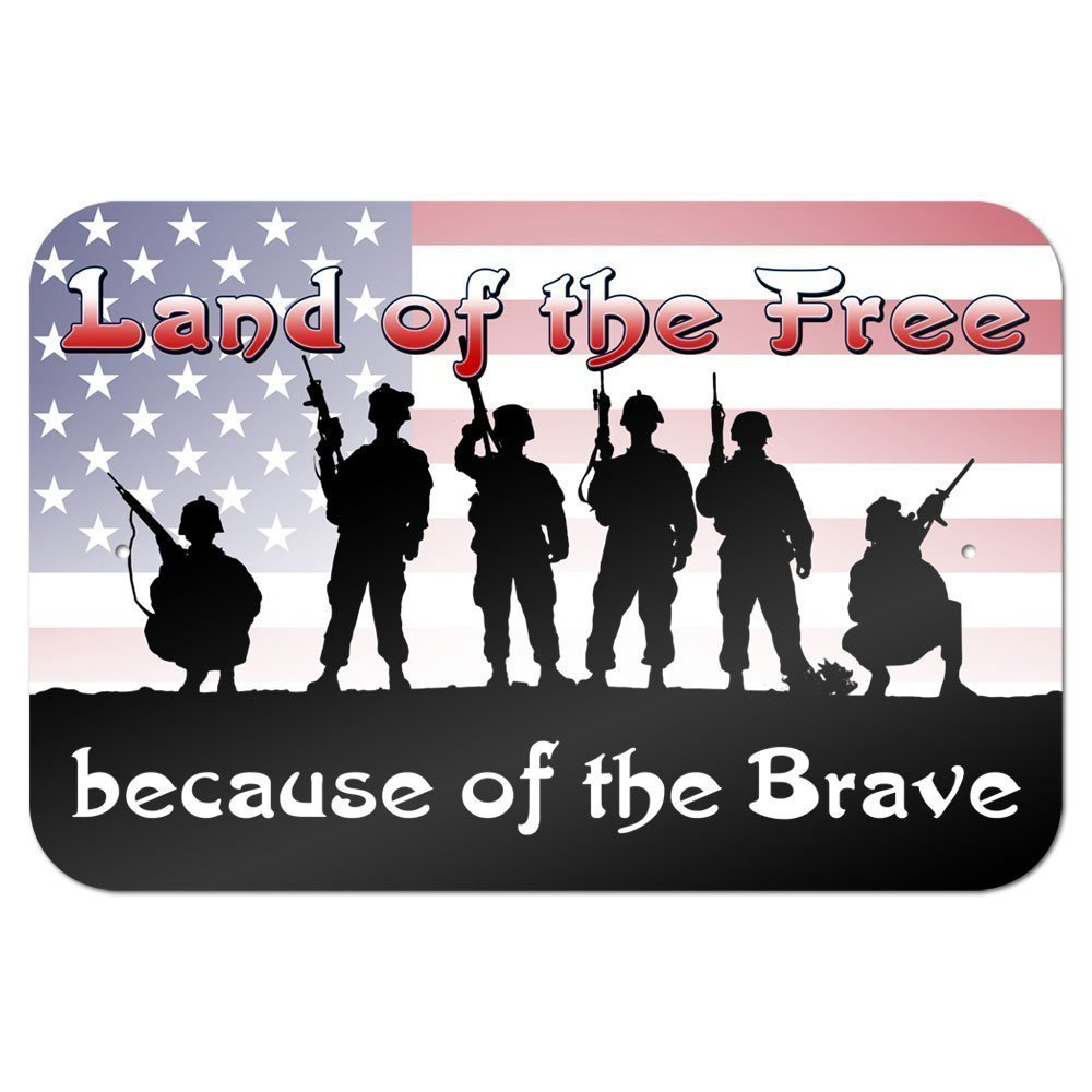 "Land of the Free because of the Brave - Patriotic America USA 9""x 6"" Metal Tin Sign"