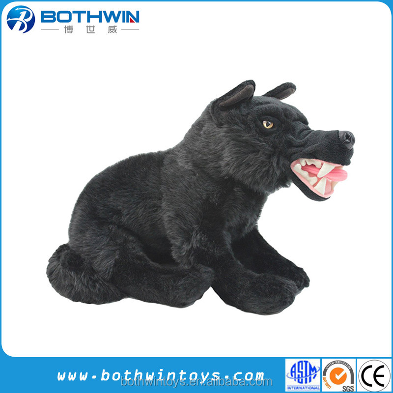 "Custom 10"" L fierce black wolf plush toy wholesale"
