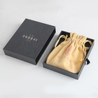 custom luxury modern black card jewelry packaging box and pouch set