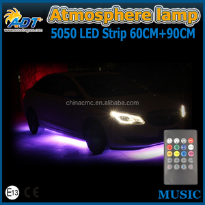 Car Music Control RGB Strip Light Kit Flexible Atmosphere Lamp Foot Lamp Car Bumper Rear Bottom Light with IR Remote Use