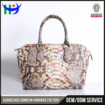 Alibaba China Designer 2017 Exotic Leather Real Snake Skin Bags Guangzhou Factory Handbags Las