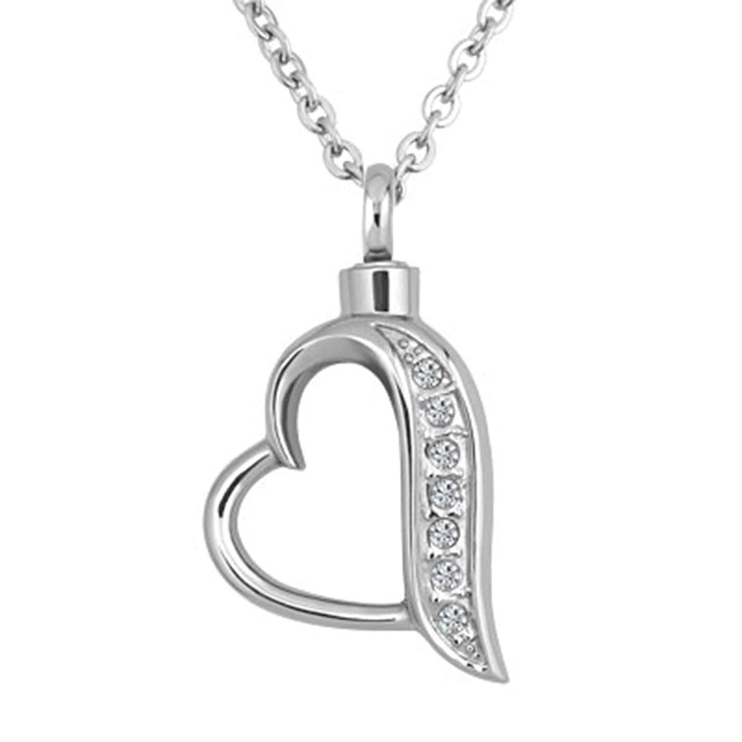 8d331b718 Get Quotations · Jesse Ortega Urn Necklace of Ashes Cremation Jewelry Heart  Love Crystal Keepsake Memorial Stainless Steel Necklace