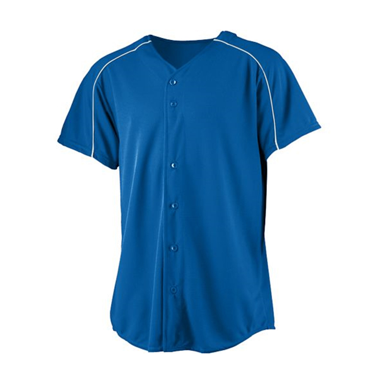 100% Polyester Baseball Jerseys Blau Billig Wholesale Plain Baseball Jerseys