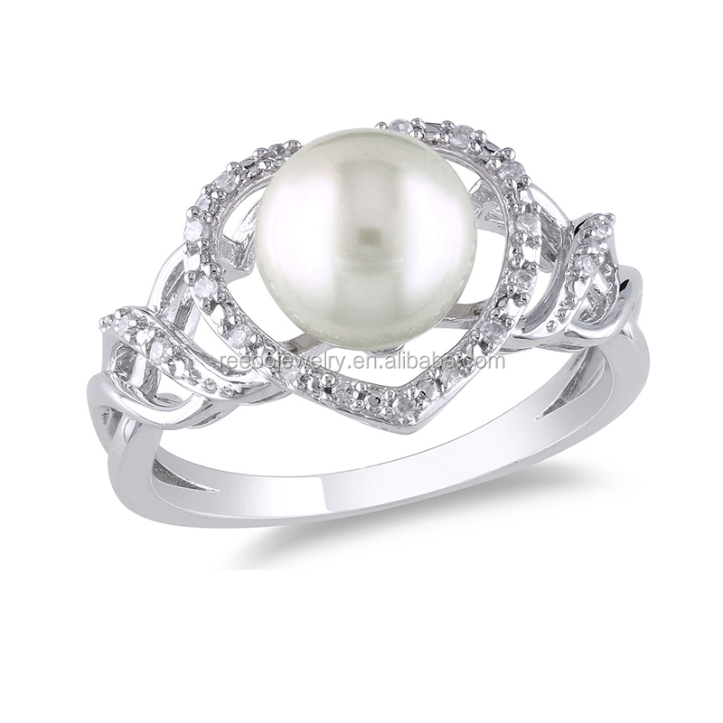 Flower Pearl White Gold Ring Designs,Sterling Silver Pearl Ring ...