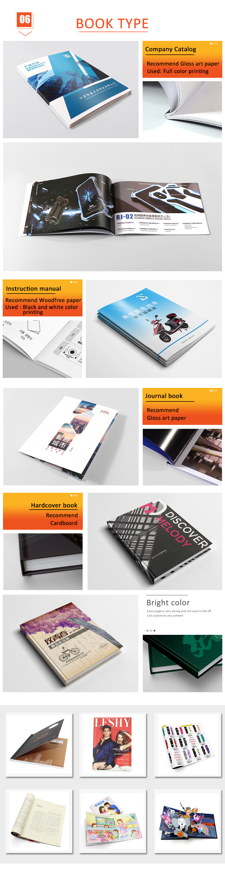 Softcover custom photographic colorful book printing service