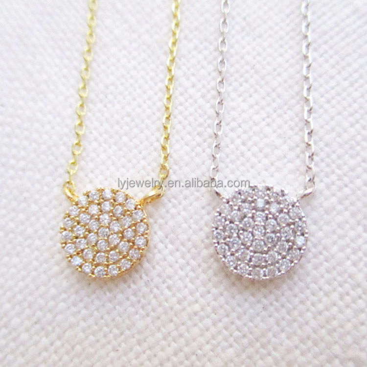 3 Color 14k gold necklace or cubic zirconia 925 sterling silver cz necklace LYN0078