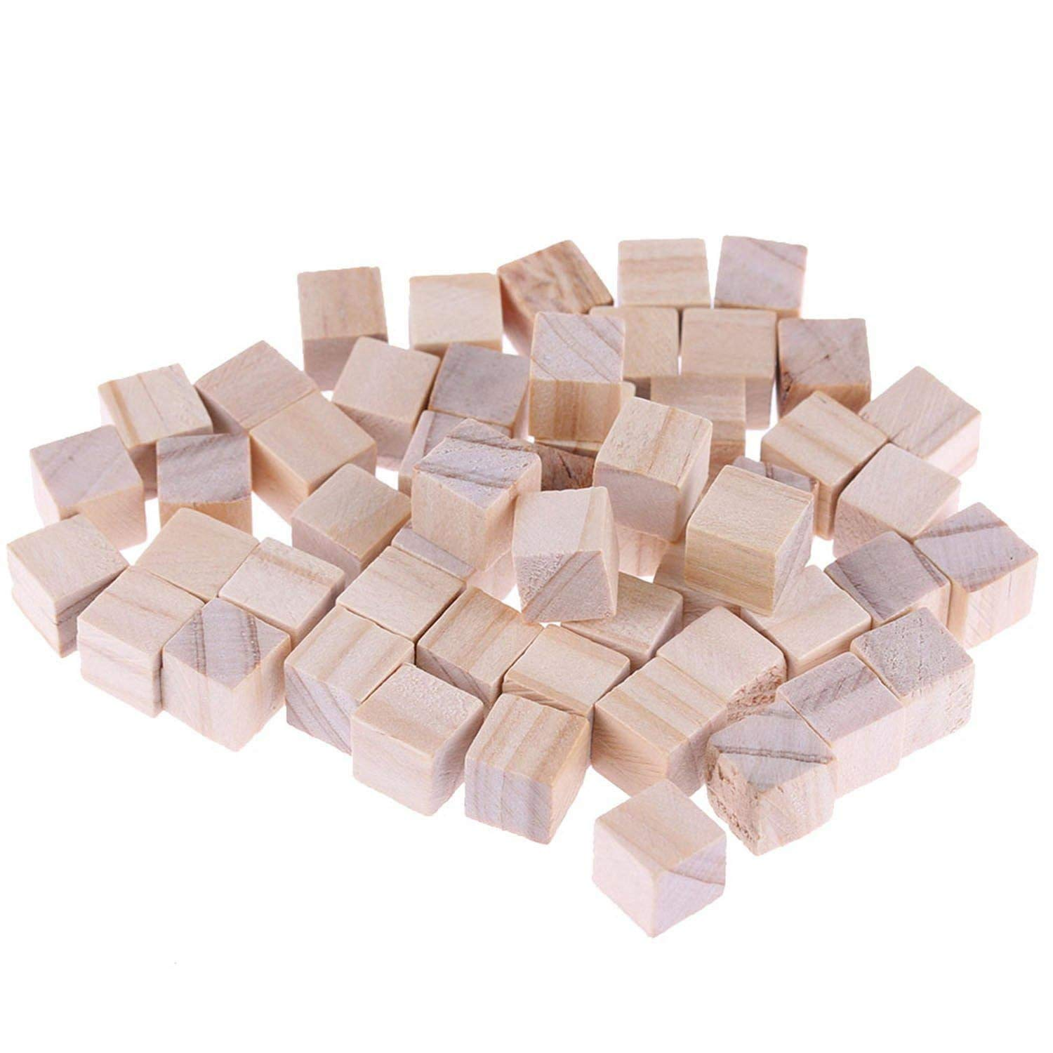 Ireav Wooden Craft Cubes - Mini Wooden Art Craft Stacking Cubes Blocks / Unfinished Natural Wood / - 25 Pack / 2 Centimeter