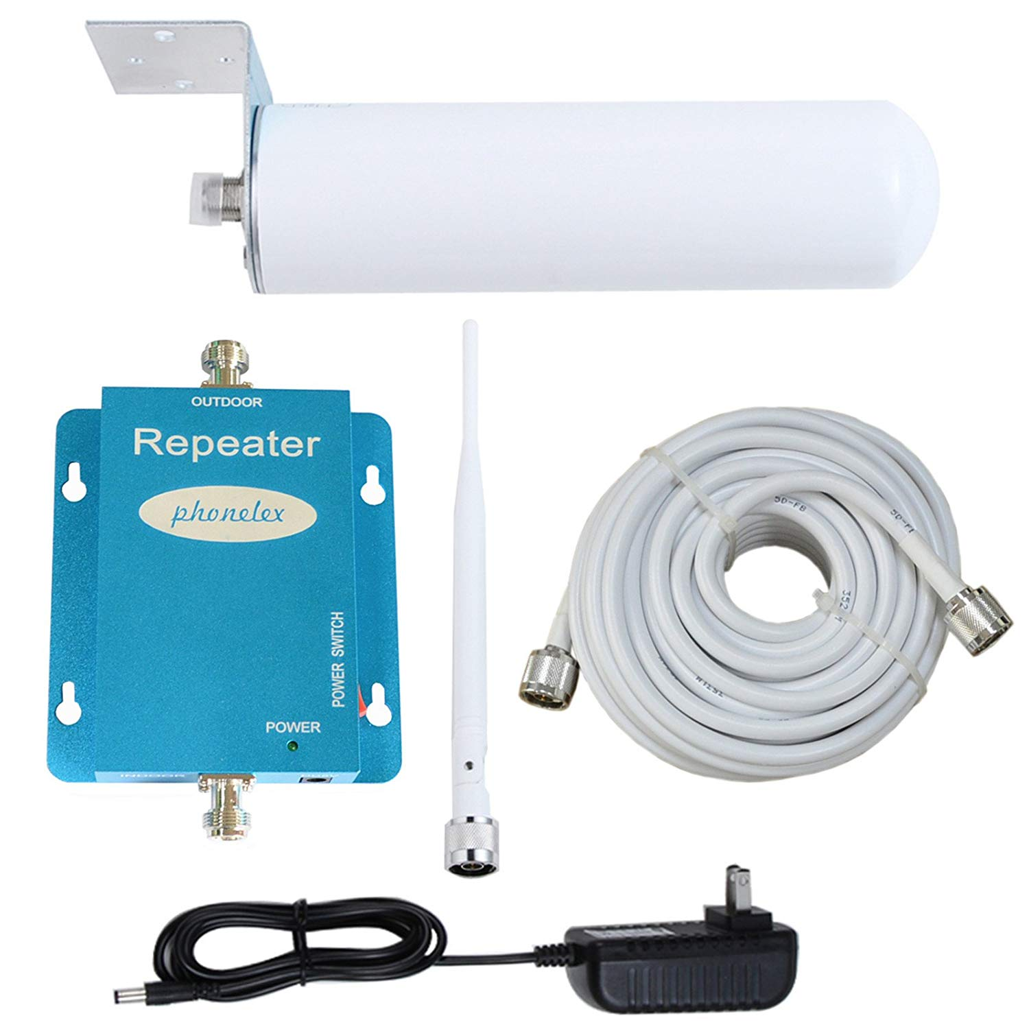 Phonelex Cell Phone Signal Booster at&T T-Mobile 4G LTE 700MHz FDD Band17/12 Cell Phone Signal Amplifier at&T Mobile Signal Booster Repeater Amplilfier (Whip+Omni B)