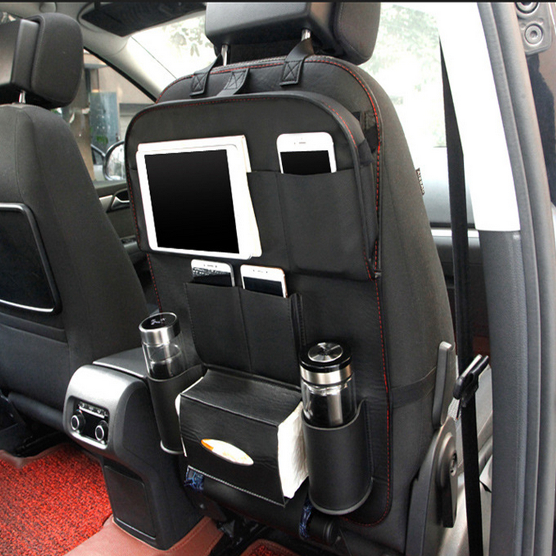 Durable PU Fabric Auto Back Car Seat Organizer With Food Tray Table