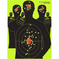 Splatterburst Targets - 12x18 inch - Triple Silhouette Reactive Shooting Target - Shots Burst Bright