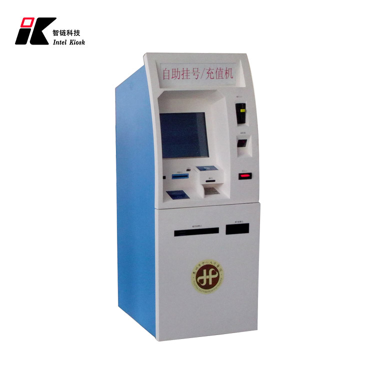 self-service terminal multi touch screen hospital health kiosk with card reader and A4 printer , fingerprint scanner