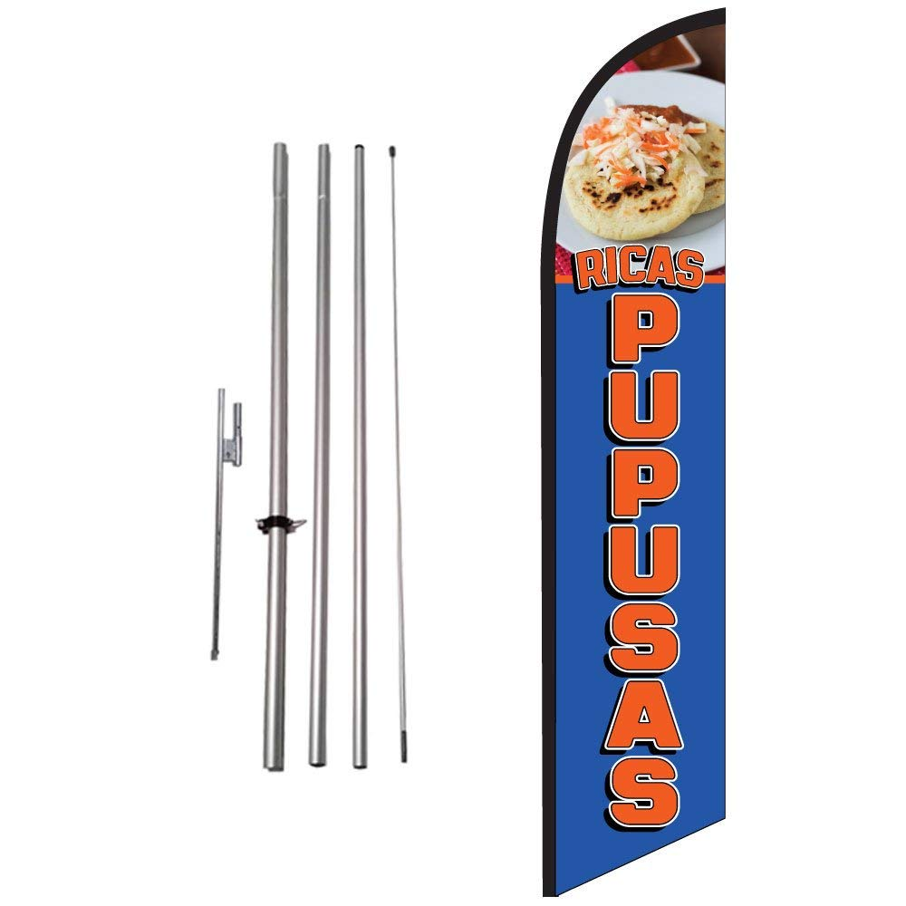 Pack of 2 Now Leasing King Windless Swooper Flag Sign Kit With Pole and Ground Spike