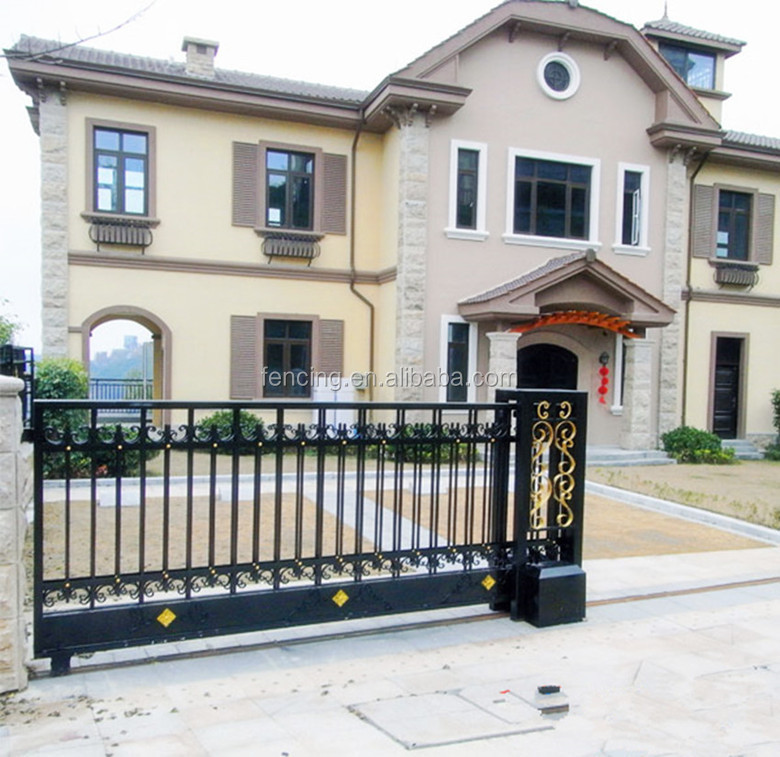 Alibaba Golden Factory Wrought Iron Sliding Gate For Entrance Main ...