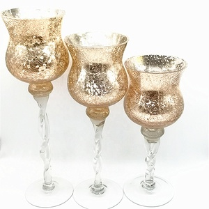 Set of 3 Hurricanes, gold mercury GLass Candle holders with stem