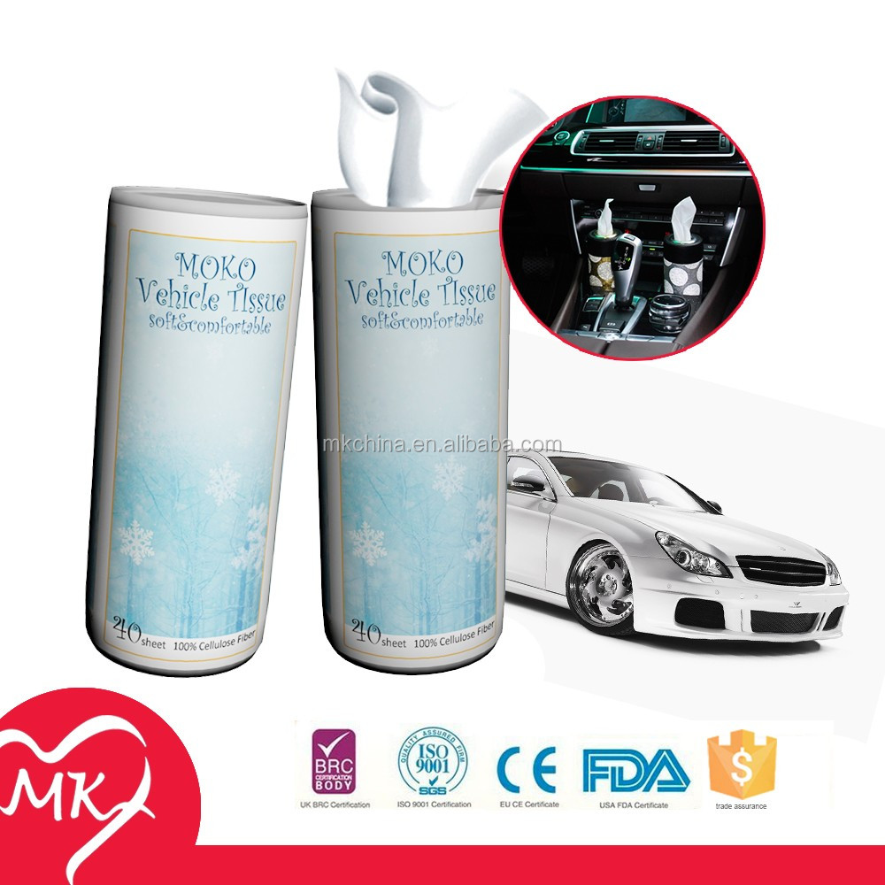 Ultra soft 100% virgin wood pulp facial oem odm service free sample tube car paper tissue for Vehicle