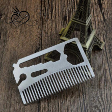 Engraved Your Logo Anti Static Stainless Steel Multi-function Bottle Opener Beard Brush and Comb