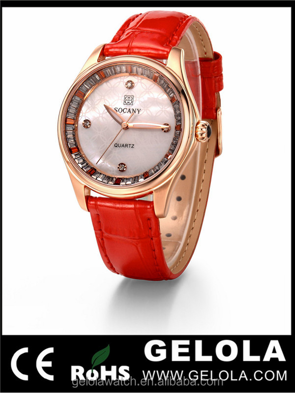 high quality quartz ladies watch with pearl Vintage shell dial and colorful genuie leather band