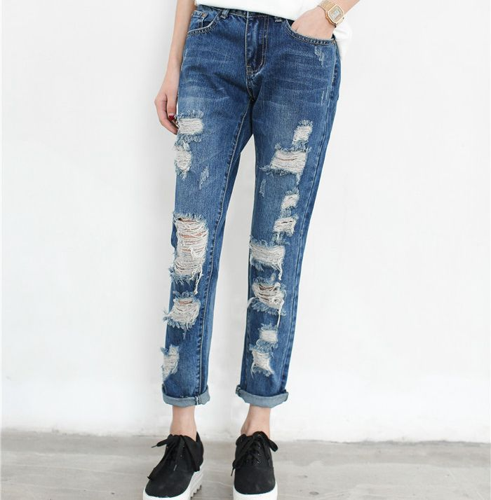 288d6d6166d Get Quotations · 2015 Fashion Womens Summer Holes Knee Ripped Jeans Denim  Loose Blue Trousers Female Retro Denim Boyfriend