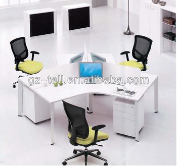3 Person Office Workstation White Por Design