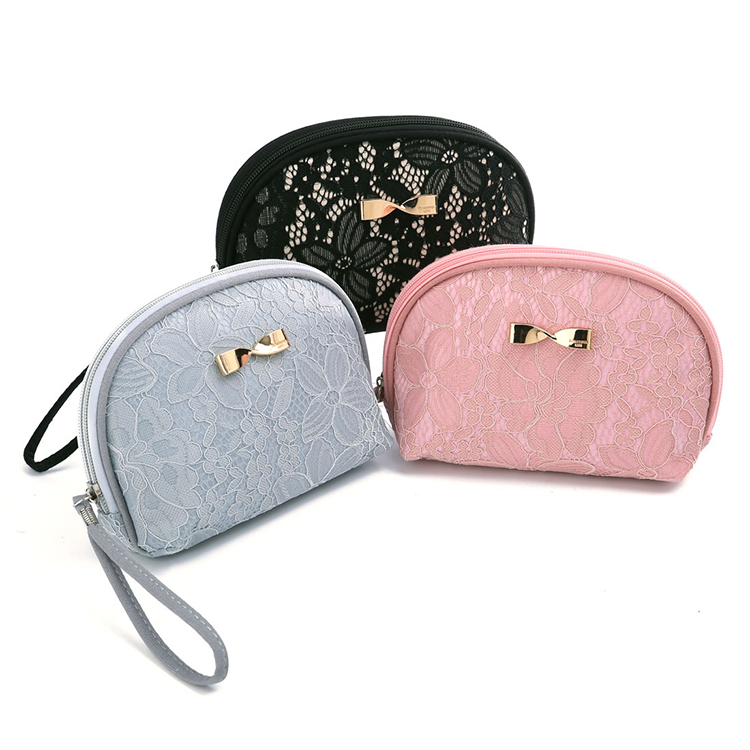 Outdoor zip makeup bag lace cosmetic bag and cases
