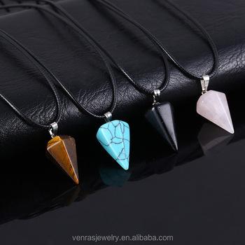 3758ee526a9e Cristal natural piedra triángulo colgante cuerda de cuero pingente luz Rosa  verde marrón moda corto gargantilla
