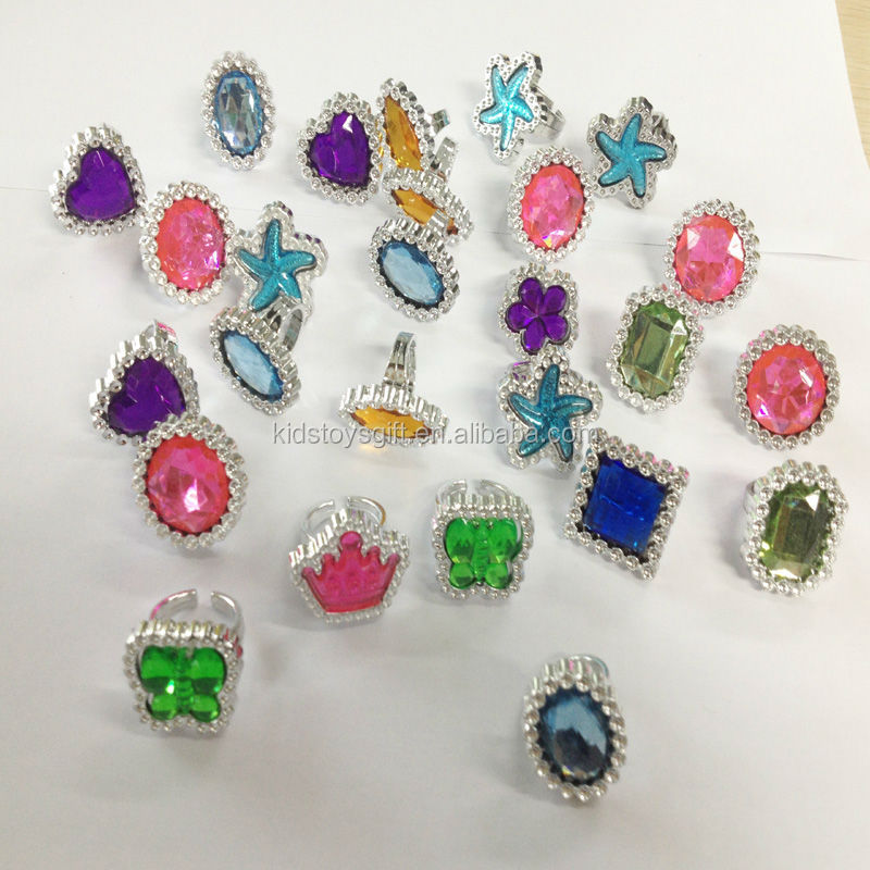 Kids Plastic Gem Rings