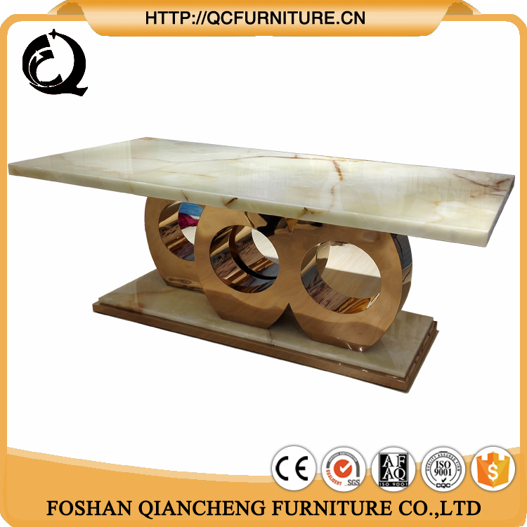 luxury Natural marble top big size dining table set