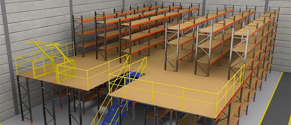 Pallet Rack Mezzanine : Industrial warehouse storage steel structure mezzanine