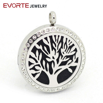 Wholesale Silver 316L Stainless Steel Tree of Life Aromatherapy Necklace Locket Pendant with Crystals