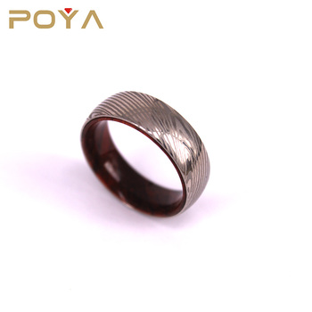 POYA Jewelry Dome Finished Custom Made 8mm Mens Womens Damascus Steel Ring Solid Wood Sleeve Inlay For Christmas Gift