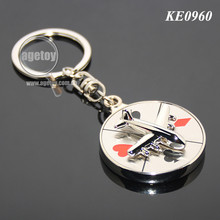 Rotate Mini Alloy Airplane Revolve Dial Playing Cards Symbol Round Shaped Metal Souvenir Aviator Keychain