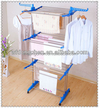 Stainless Steel Strong Standing Three Layer Drying Clothes Rack