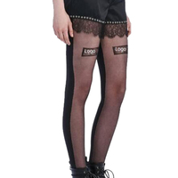 Sexy Transparent Custom Printed Black Tube Pantyhose Tights For Girls
