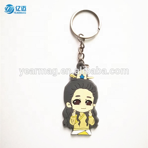 Wholesale Trendy Cute Custom Cartoon Character Soft PVC Keyring Toy Silicone 3D Keychain For Children Gifts