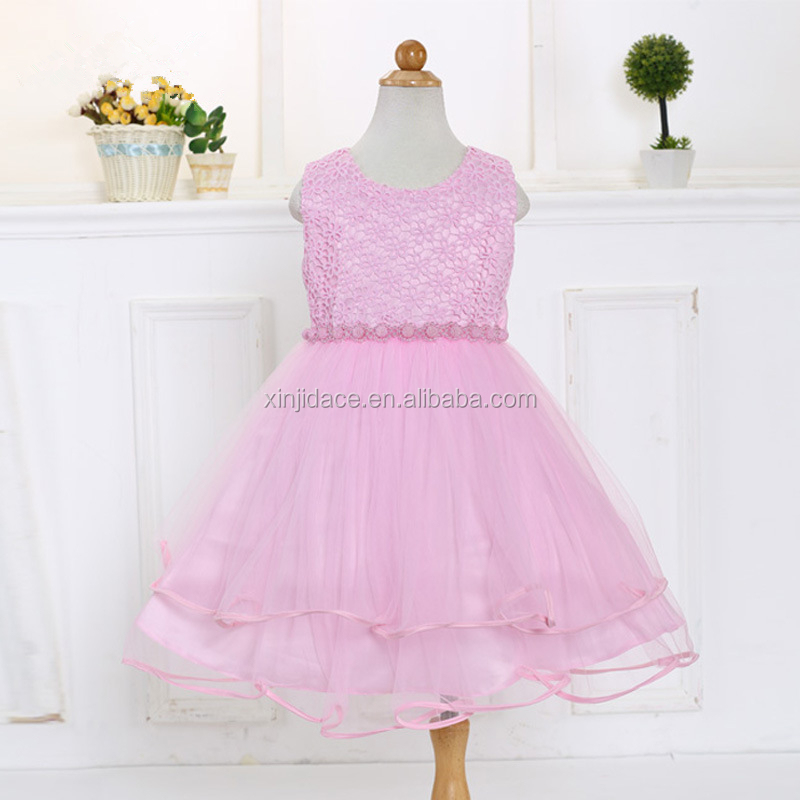 Top selling high quality pure color party design kids velvet dress