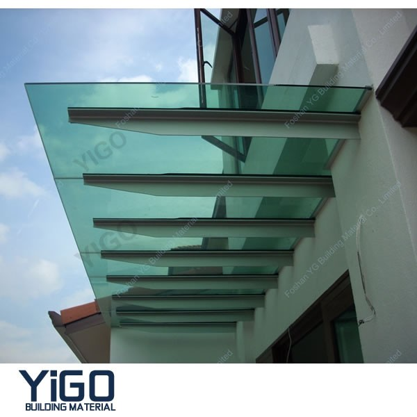 glass awning with stainless steel frame canopy 13