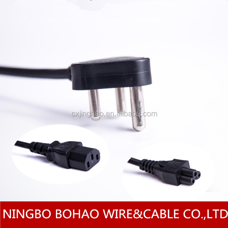 SABS approval 3 pin plug power cord with micky mouse connector