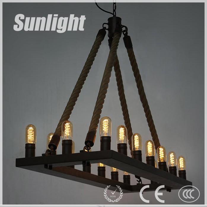 Eiland licht vintage loft industri le henneptouw hanglamp met lamp voor bar koffie winkel - Licht industriele vintage ...