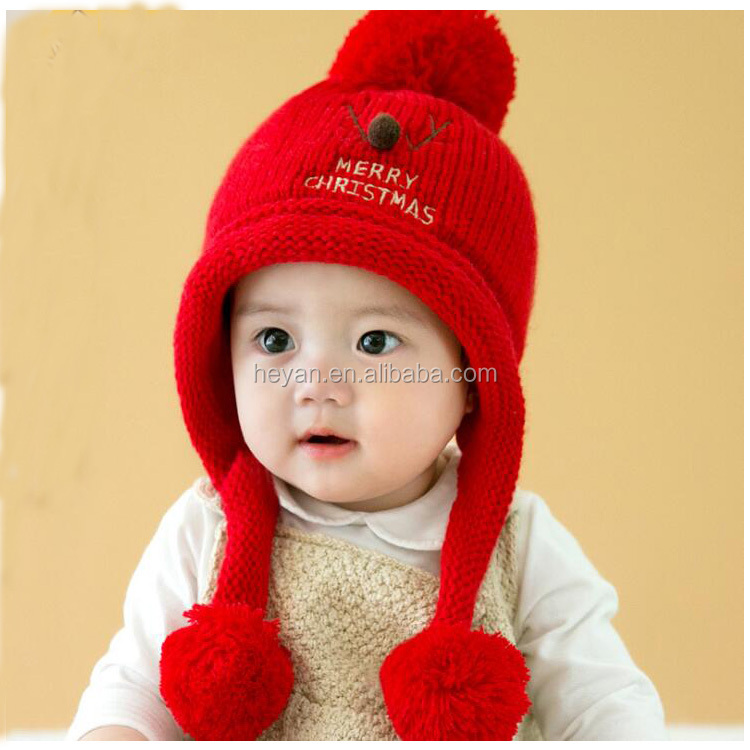 Korean Stylish Christmas Fashion Baby Winter Knitted Deer Hats 6-24months -  Buy Korean Stylish Baby Hats 8de6efdc0ed