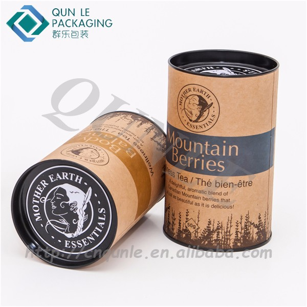 Round Paper Tube Box Packaging with Embossed Tin lid Closure Top