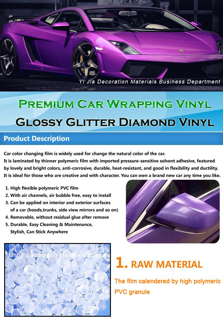 Car colour heat - High Quality Car Body Cover Glossy Glitter Diamond Vinyl Blue Colour For Car Wrap