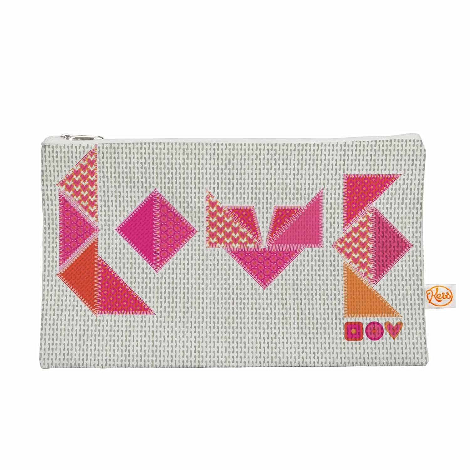 """Kess InHouse """"Stitched Love"""" Everything Bag, 12.5"""" x 8.5"""" (MB3009AEP02)"""